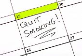 pic of quit  - A date highlighted on a Calendar to quit smoking - JPG