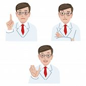 stock photo of frown  - Doctor in different expression  - JPG