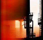 pic of fragmentation  - fragments of old industrial equipment background red black - JPG