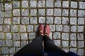 foto of woman boots  - Women of legs in boots on the road - JPG