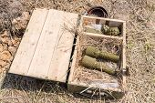pic of grenades  - grenades in a wooden box with straw - JPG