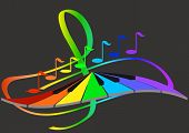 pic of clefs  - Notes and keyboard on the background of the treble clef - JPG