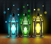 picture of occasion  - Set of Elegant Ramadan Kareem Lantern or Fanous With Colorful Lights in Islamic Pattern Background for the Holy Month Occasion of fasting - JPG