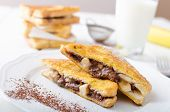 pic of french toast  - French toast stuffed with chocolate and banana fresh milk clean composition - JPG