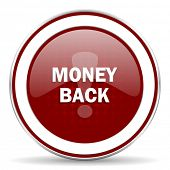stock photo of red back  - money back red glossy web icon - JPG