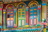 stock photo of colorful building  - Colorful facade of building in Little India Singapore - JPG