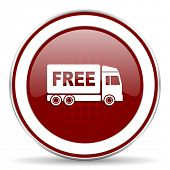 image of free-trade  - free delivery red glossy web icon