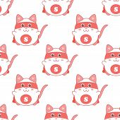image of superman  - Cute seamless pattern with cat superman - JPG