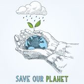 image of save earth  - Earth globe in human hands planet protection care recycling save ecology concept - JPG