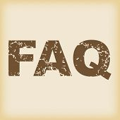 stock photo of faq  - Vector grungy brown icon with text FAQ - JPG