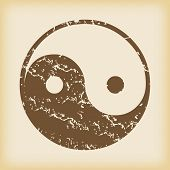 foto of ying yang  - Grungy brown icon with ying yang symbol - JPG