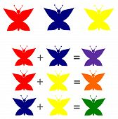 picture of combinations  - Explication primary colors mix combination illustration with cute butterfly - JPG