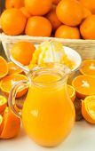 image of pitcher  - Freshly squeezed orange juice in the pitcher and oranges on the table - JPG