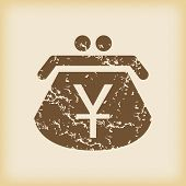 pic of yen  - Grungy brown icon with purse with yen symbol - JPG