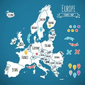 image of political map  - Hand drawn Europe travel map with pins vector  illustration - JPG