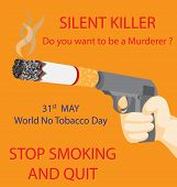 pic of silence  - Gun with a cigarette instead of silencer - JPG