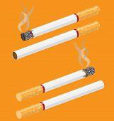 stock photo of cigarette-smoking  - Cigarette vector on orange background with smoke - JPG