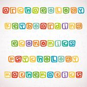 stock photo of math  - Names of different lessons written in funny colorful square letters - JPG