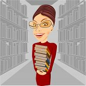 picture of librarian  - smiling librarian with glasses standing among bookshelves holding books in her hands - JPG