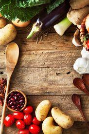picture of vegetable food fruit  - Vegetables on wood - JPG