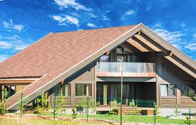 picture of gable-roof  - gable roof private residential new modern house with a window - JPG