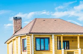 foto of gable-roof  - gable roof private residential new modern house with a window - JPG
