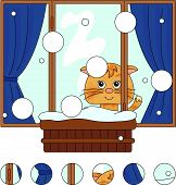 Cat Sitting On The Winter Window With Flower Pots And Curtains. Complete The Puzzle And Find The Mis poster
