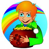 stock photo of hobgoblin  - Young elf with ginger hair holding pot with golden coins - JPG
