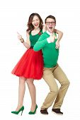 Nerd couple showing thumbs up poster