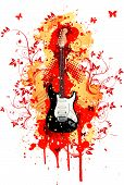 picture of stratocaster  - Electric Guitar With Abstract Swirl Isolated on White Background - JPG