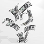 stock photo of going out business sale  - Dollars to drain - JPG