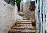 pic of hydra  - Traditional stone stairs in Hydra island Greece - JPG