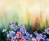 Постер, плакат: Watercolor Painting Cherry Blossoms Japanese Cherry Pink Sakura Floral background