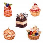 Постер, плакат: Set of hand drawn cakes with watercolor texture