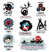 Постер, плакат: Traditional life of Northern peoples Deer logo Northern logo Far North logo Northern team logo