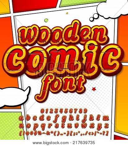 Colorful wooden font