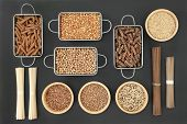 Dried macrobiotic health food with udon and soba noodles, grains, legumes, seeds and whole wheat pas poster