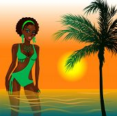 picture of monokini  - Vector Illustration of a Green Swimsuit Girl in water at beach during sunset or sunrise - JPG
