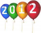 image of new years celebration  - New 2012 Year balloons multicolor blue green yellow red decoration with silver text - JPG