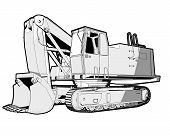 picture of jcb  - Perspective illustration of a digger in black and white - JPG