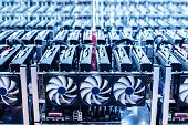 Bitcoin mining farm. IT hardware. Electronic devices with fans. Cryptocurrency miners. poster