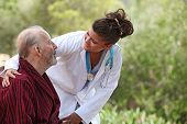 stock photo of nurse  - nurse showing care to patient - JPG