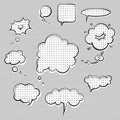 pop-art style speak clouds ink graphic set poster