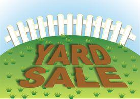 stock photo of yard sale  - Yard sale sign in the backyard of the house - JPG