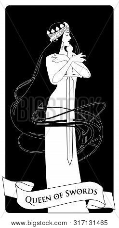 poster of Queen Of Swords With Spades Crown, Holding A Sword Surrounded By Her Long Hair. Minor Arcana Tarot C