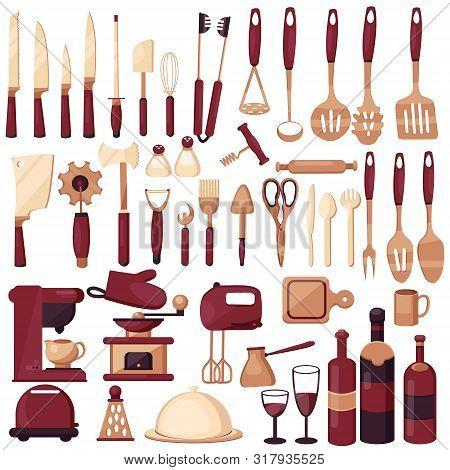 poster of Set Kitchen Utensils For Cooking. Kitchen, Cooking, Kitchen Technology, Taste, Delicious. Coffee Mak