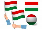 Hungary Flag In Hand Set. Ball Flag. National Flag Of Hungary Vector Illustration poster