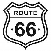 Route 66 Flat Color Illustration. United States Route 66 Series. poster