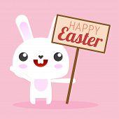 Cartoon White Easter Bunny. Cartoon White Easter Bunny Rabbit Holding A Sign Or Banner. Cartoon Bunn poster
