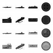 Vector Illustration Of War And Ship Sign. Set Of War And Fleet Stock Vector Illustration. poster